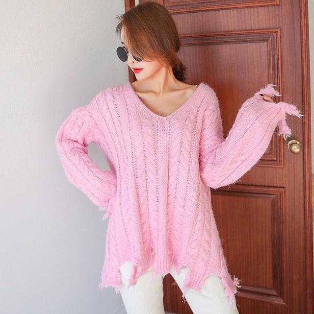 ヴィンテージVネックになるクァベギニットティー4colorデイリールックデイリーバックkorea women fashion style
