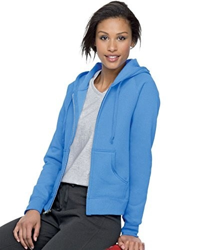 Hanes Ladies 8 oz.  80/20 ComfortBlend� EcoSmart� Full-Zip Hood - CAROLINA BLUE - XL