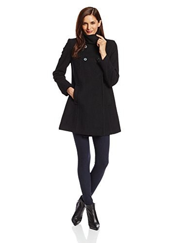 Larry Levine Womens Double Breasted Plush Wool Coat, Black, 16
