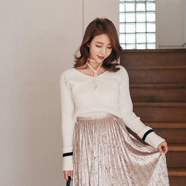 エリゼ配色袖段ボールニットティーアイボリーピンクデイリールックデイリーバックkorea women fashion style