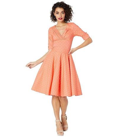 ユニークビンテージ レディース ワンピース トップス Pantone x Unique Vintage 1950s Delores Swing Dress with Sleeves