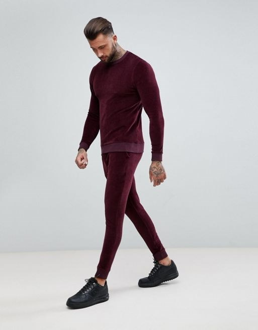 ASOS Tracksuit Muscle Sweatshirt/ Super Skinny Jogger In Burgundy Velour