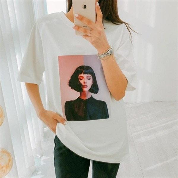 ビッグサイズ/ジェイスタイルメリーボタンプリント半袖Tシャツnew 女性ニット/ラウンドニット/韓国ファッション