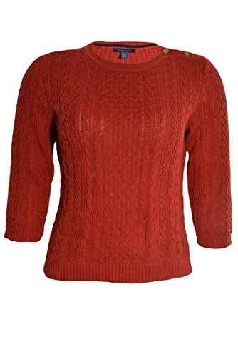 Tommy Hilfiger Womens Cableknit Sweater (Tahitian Red, X-Large)