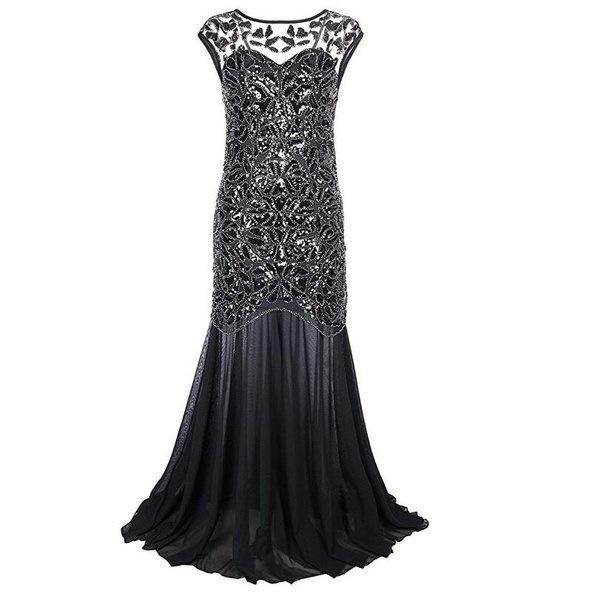 女性1920年代ブラックスパンコールギャツビーマキシロングイブニングウエディングドレス