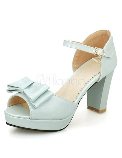 Blue Peep Toe Bows PU Sandals For Woman