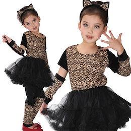 7d63817736dd98 ハロウィン衣装 子供 キッズ コスプレ 猫 妖怪 妖精 キャットウーマン 動物 豹柄 キャラクター 演劇 Halloween