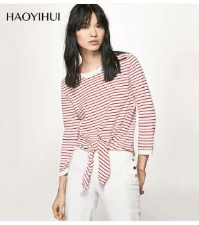 Tシャツシンプルな装飾的な弓の9点スリーブストライプセーター