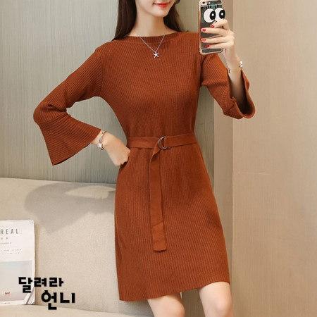 後ひらき段ボールニットワンピース段ボールスタイルのソフトで暖かいニットワンピースkorea fashion style