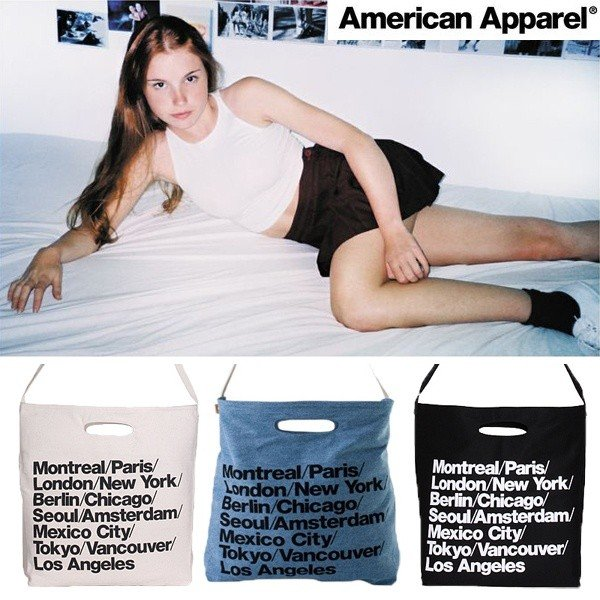 【ネコポス送料無料】アメリカンアパレル American Apparel トートバッグ/3色【ホワイト/ブラック/ブルーショルダー】アメアパトートシティバッグ エコバック ecoバック