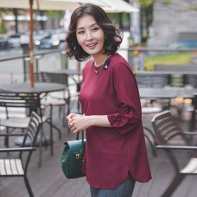 スィジュマダムT52454フリル小売プロチのブラウスママの服ミッシー服母プレゼントビッグサイズおばさん服 サテン/シルクブラウス/韓国ファッション
