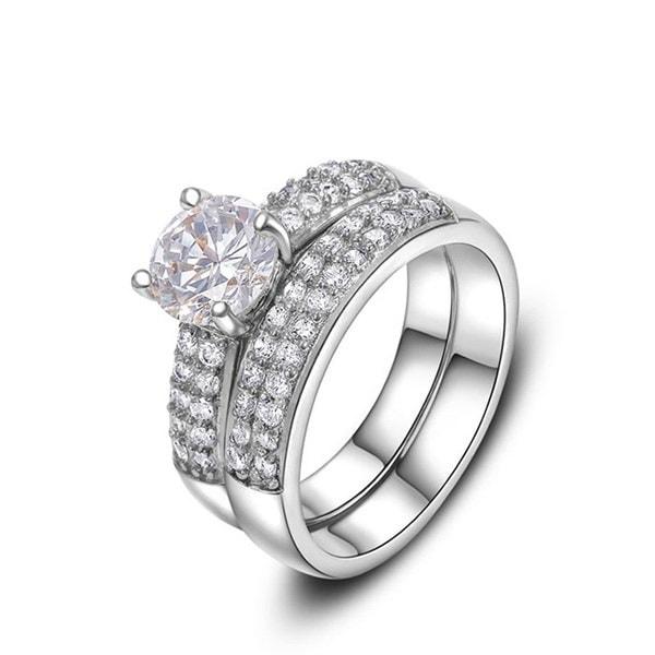 18kシルバーメッキ1.5ctブリリアント・パヴェ・バンド・キュービックジルコニア結婚指輪セット