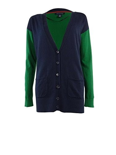 Tommy Hilfiger Womens Button Down Knit Sweater (L, New Masters Navy)