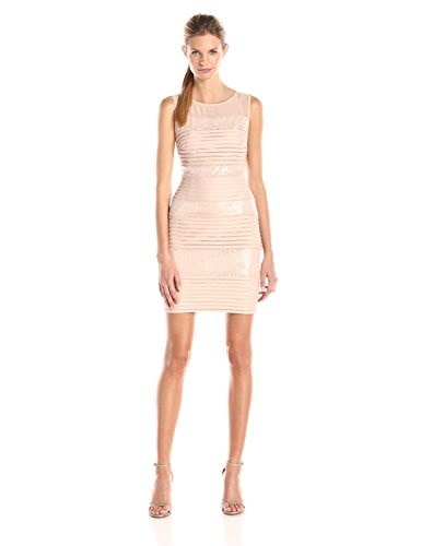 Sangria Womens Sleeveless Textured Striped and Sequin Illusion Yoke Sheath Dress, Rose Blush, 2