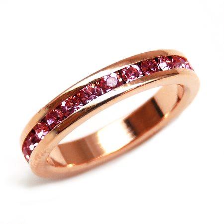 【kor299 3号 5号 7号 10号 12号 15号】輝くピンクCZダイヤ キュービック・ジルコニア かわいいピンキーリング 高級プラチナRG加工 パーティーや結婚式、プレゼントにも ピンクゴール