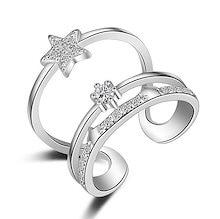 トリプル ライン Czダイヤモンド ビジュー リング 星 STAR シルバー ジュエリー レディースファッション フリーサイズ SILVER 指輪
