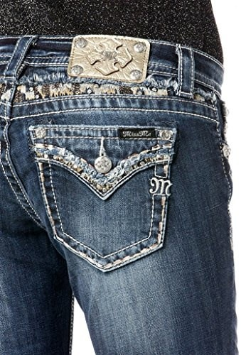 Miss Me Juniors Rhinestone Flap Pocket Straight Leg Jean, Medium Wash, 29