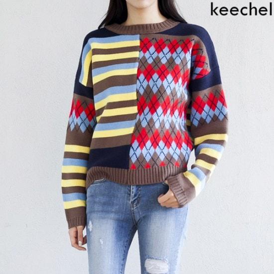 【キチェル]パターンミックスニット ニット/セーター/パターンニット/韓国ファッション