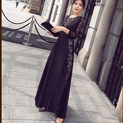 レディース 大きいサイズ パーティードレス 袖あり お呼ばれ ロング 結婚式 aライン 韓国ファッション 演奏会 パーティー オルチャン ロングドレス ロングドレス オルチャンファッション
