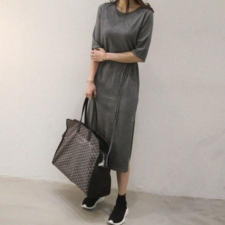 Florentium Long Knit Dress Korean fashion style