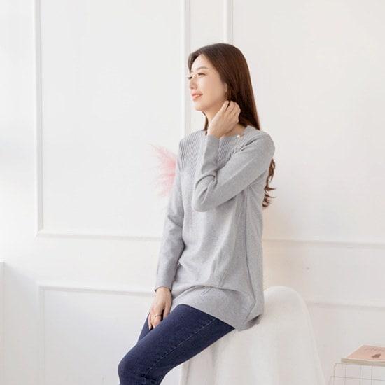 マダム4060ママの服晋州装飾ラウンドニットXKN710005 大きいサイズ/ニット/セーター/韓国ファッション