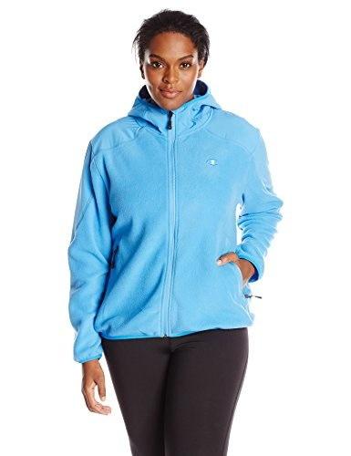 Champion Womens Plus-Size Anti-Pill Micro Fleece Hooded Jacket, Polar Sky, 1X