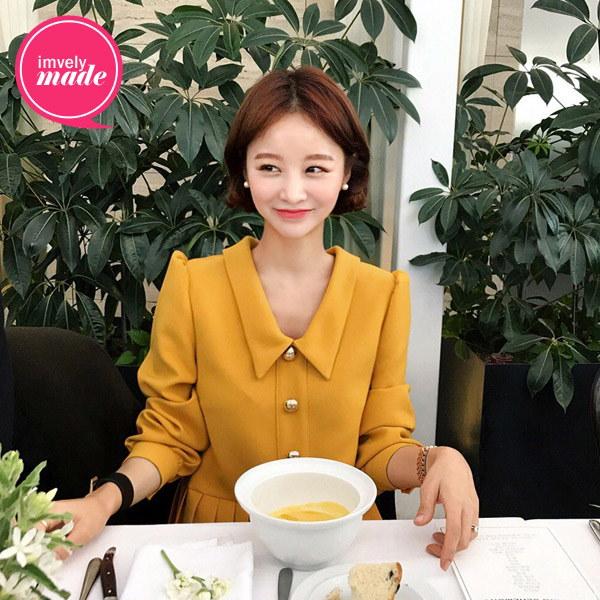 トゥイーティーブリープリーツワンピース/韓国ファッション/イムブリー/IMVELY