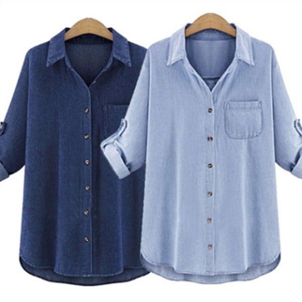 女性エレガントジーンズシャツ秋ロングスリーブプラスサイズシャツ