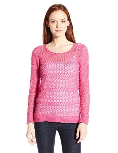 NY Collection Womens Petite Long Sleeve S Coop Neck Open Stitch Sweater with Jersey Inside Tank, Lotus Pink, Petite/Large