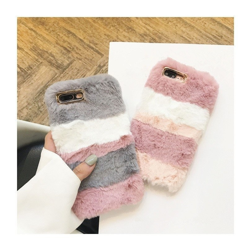 iPhoneX/7Plus iPhone8/7iPhone6 Plus/6sPlus iPhone6/6s用TPUスマホケース/ 携帯スマホカバー ふわふわ肌触り 暖かい もこもこ ツートンG432