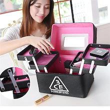 6color!メイクボックス コスメボックス 鏡付き 雑貨 小物入れ 持ち運び可 大容量 アクセサリー 収納 化粧品