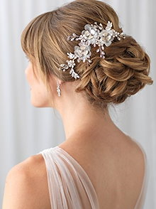 Jewelry & Watches Fashion Jewelry Fine Lux Accessories Pave Floral Faux Pearl Crystal Leaf Bridal Hair Comb Excellent In Cushion Effect