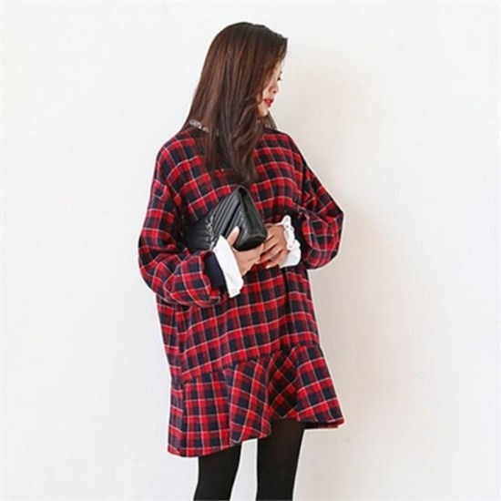 [ジェイスタイル] [行き来/ジェイスタイル]ビッグサイズ/ジェイスタイルブリソンチェックワンピース 綿ワンピース/ 韓国ファッション