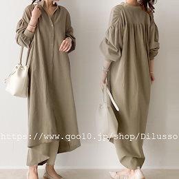 E517  シャツワンピ 羽織り ロング丈 シャツワンピース 体型カバー シンプル