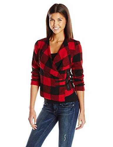 BB Dakota Womens Rosanna Plaid Jacket with Buckle Closure, Black, Small