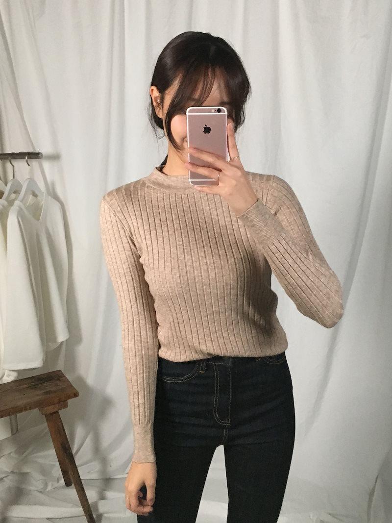 モルリンベーシックソフト段ボールニットkorea fashion style