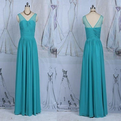 A-line v-back long fancy chiffon dresses party evening for women fashion