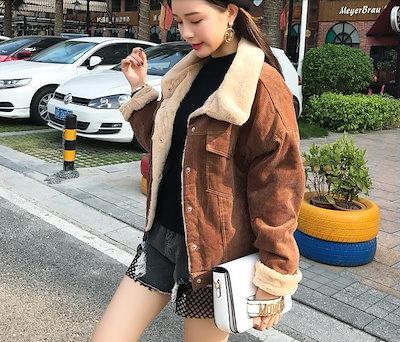 【即納】人気のコーデュロイジャケット エコファー カジュアル 可愛い オシャレ 暖かい ショート丈 大きいサイズ
