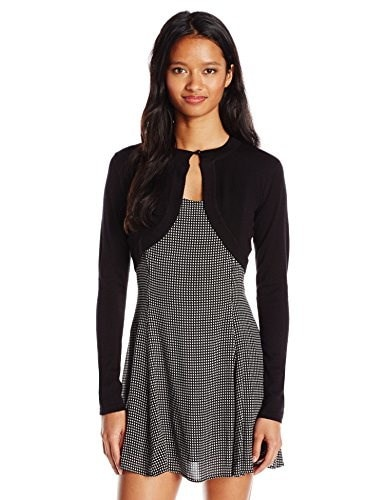 Jump Juniors Sweater Knit Bolero Shrug with Front Button Closure, Black, Medium