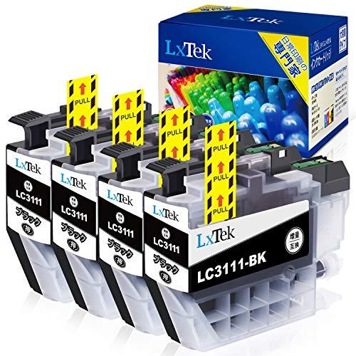 【LxTek】Brother用 ブラザー LC3111-bk ブラック 4本セット LC3111bk? 4本 lc3111-4pk『互換インク/2年保証/大容量/残量表示/個包装』黒