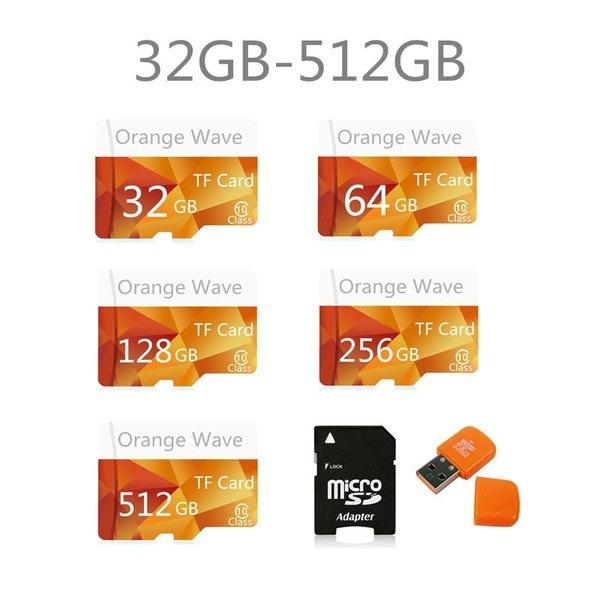 2017 64GB〜512GB高速オレンジウェーブMicroSD SD / TFカードクラス10フラッシュメモリ+ SDカードリーダー+広告