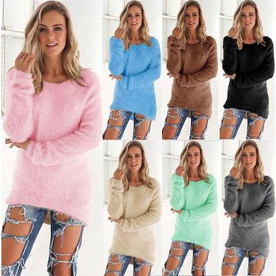 10色女性ファッションセクシーなソリッドカラーロングスリーブセータートップス