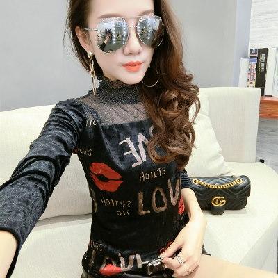a-shimooka 2018春 新作  ニット Tシャツ 女性 レディーズ 長袖 ファッション 韓国風 無地 レース 切れ替え クルーネック かわいい