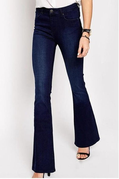 Deep Blue Bell Flare Jeans Women s Clothes Pants
