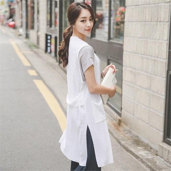 OTI300イージーの横に広がることポケットロングベストnew 女性ニット/カーディガン/韓国ファッション