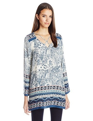 Blu Pepper Womens Woven Print Tunic Top, Navy/Coral, Medium
