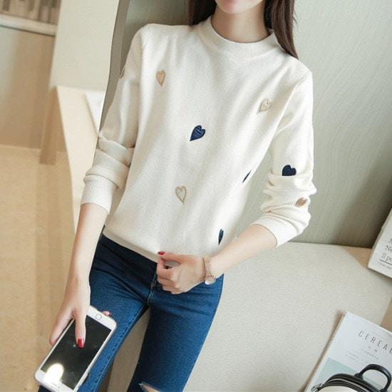 【オーサム】エラ市ハートニット_229603 ニット/セーター/ニット/韓国ファッション