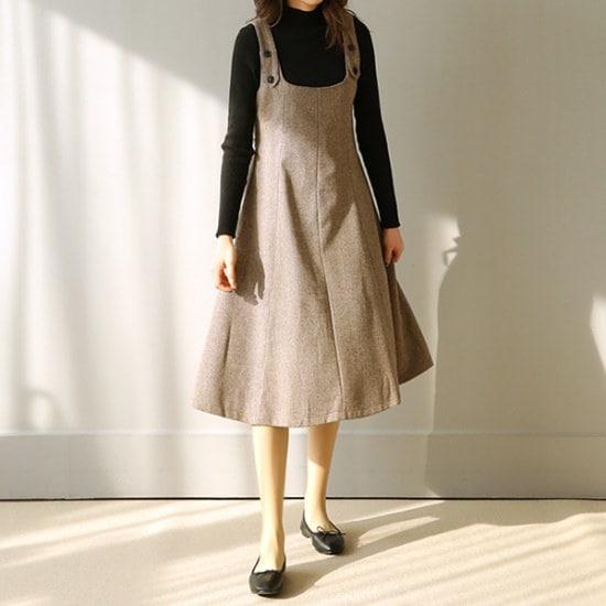 ビナインエミリー・サスペンダーワンピース 綿ワンピース/ 韓国ファッション