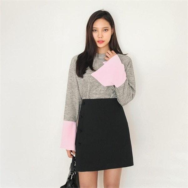 ビッグサイズ/ジェイスタイルビリーク配色カフスシャツnew 女性ニット/ラウンドニット/韓国ファッション