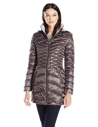 Laundry Womens Packable Down Jacket with Hood, Charcoal/Pewter, X-Large